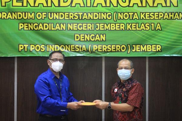 Penandatanganan Perjanjian Kerjasama Antara PN Jember Kelas 1 A dengan Kantor Pos Jember 68100